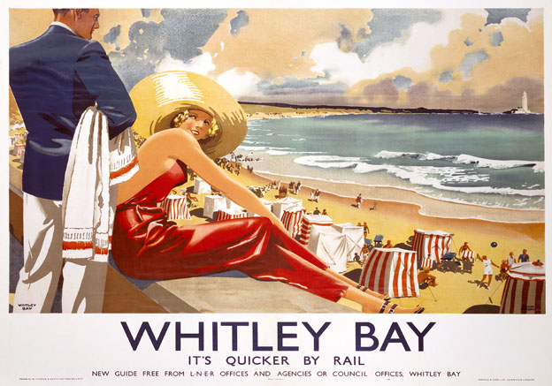 Vintage travel poster produced in 1939 by London & North Eastern Railway (LNER) to promote rail services to Whitley Bay, Tyne and Wear. Illustrated is a man and woman in a red dress sitting on the promenade wall looking out over the seaside while people are having fun on the sandy beach. St Marys Lighthouse can be seen in the distance. Artwork by Frank Newbould (1887-1951), who studied at Bradford College of Art and joined the War Office in 1942. He also designed posters for the GWR (Great Western Railway), Orient Line and Belgian Railways.